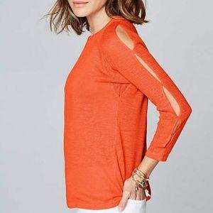 J Jill Linen Rayon Open Shoulder Sweater Large